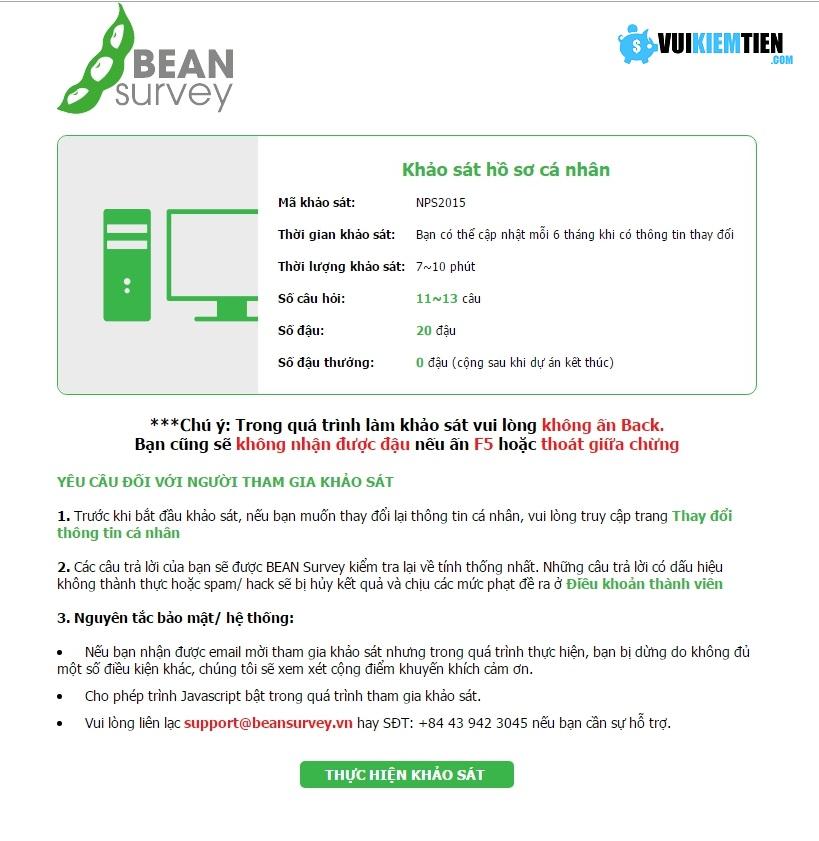 khảo sát bean survey