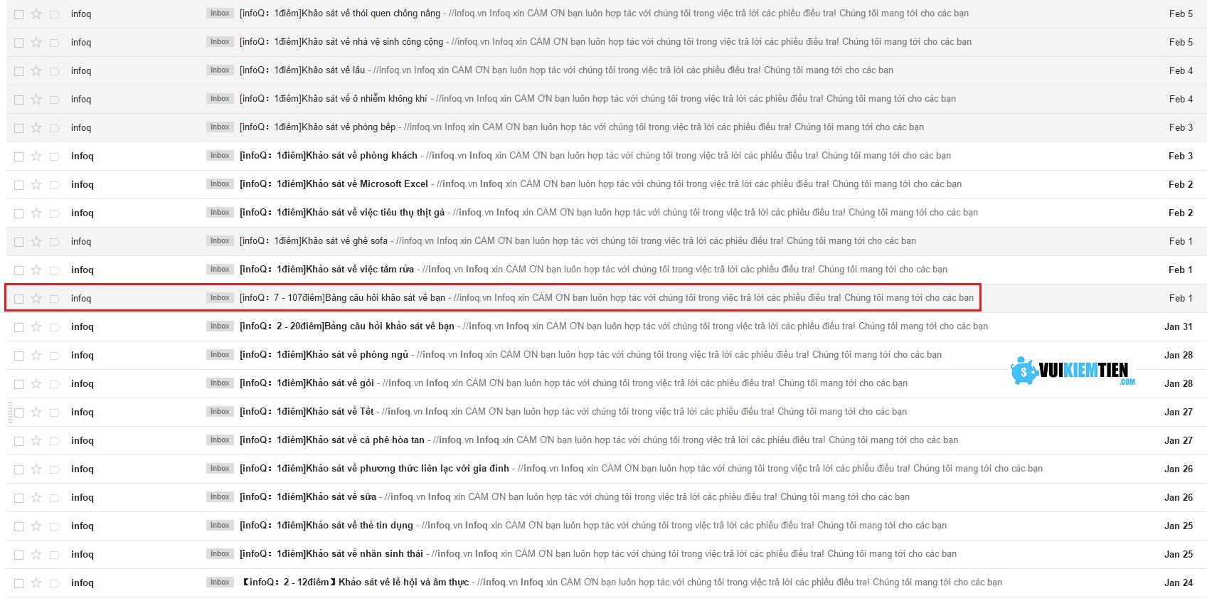 Ở trang chủ của Vinaresearch có khá nhiều bài khảo sát rồi. Nhưng rất hay là bạn hãy thường xuyên kiểm tra hòm thư email bạn dùng để đăng ký tài khoản. Họ rất thường xuyên gửi thêm các bài khảo sát mời bạn tham gia ở đây.