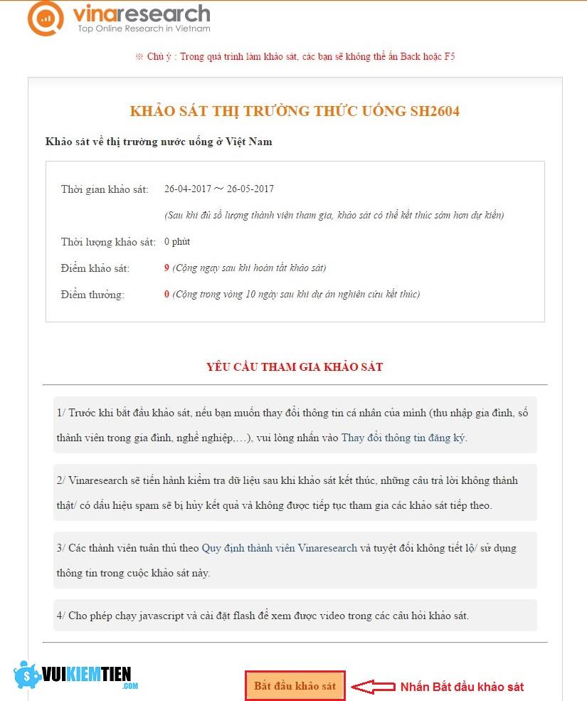 hướng dẫn làm khảo sát vinaresearch