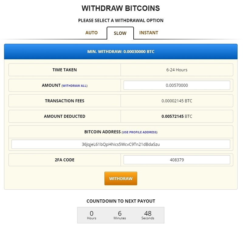 Rút tiền Bitcoin miễn phí tại Freebitcoin