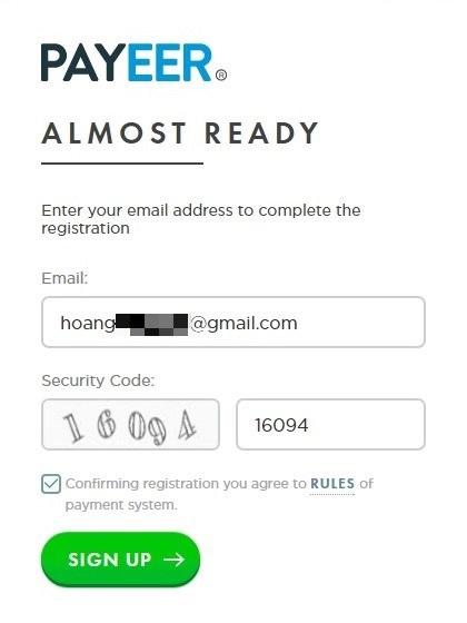 Hướng dẫn đăng ký payeer và xác thực