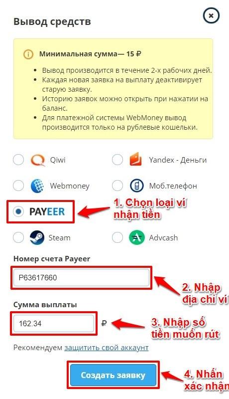 Hướng dẫn rút tiền Vktarget