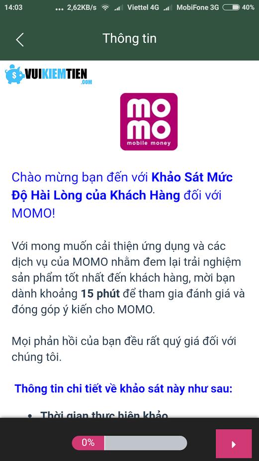 khảo sát ví điện tử MoMo