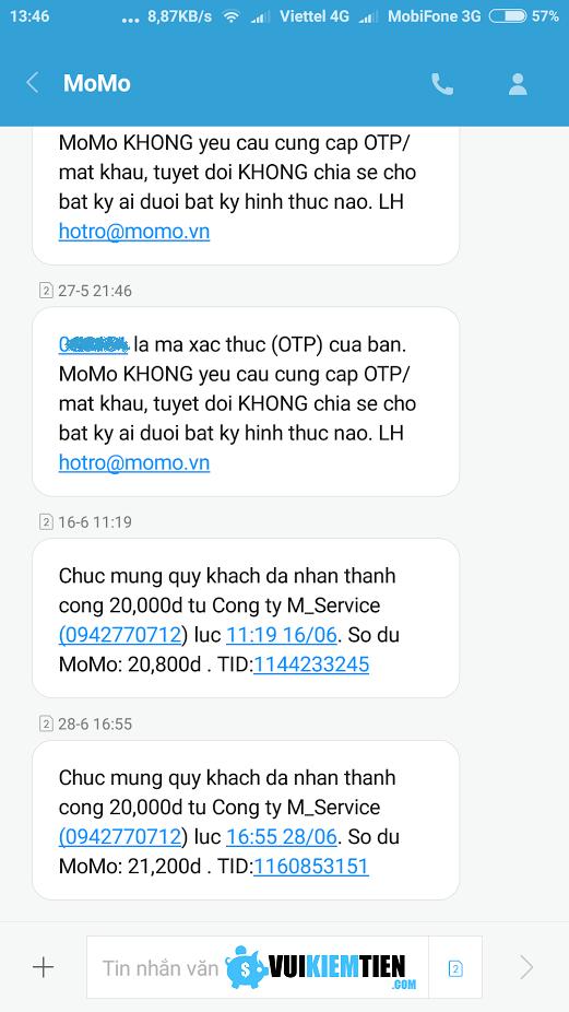 vi điện tử MoMo nhận tiền