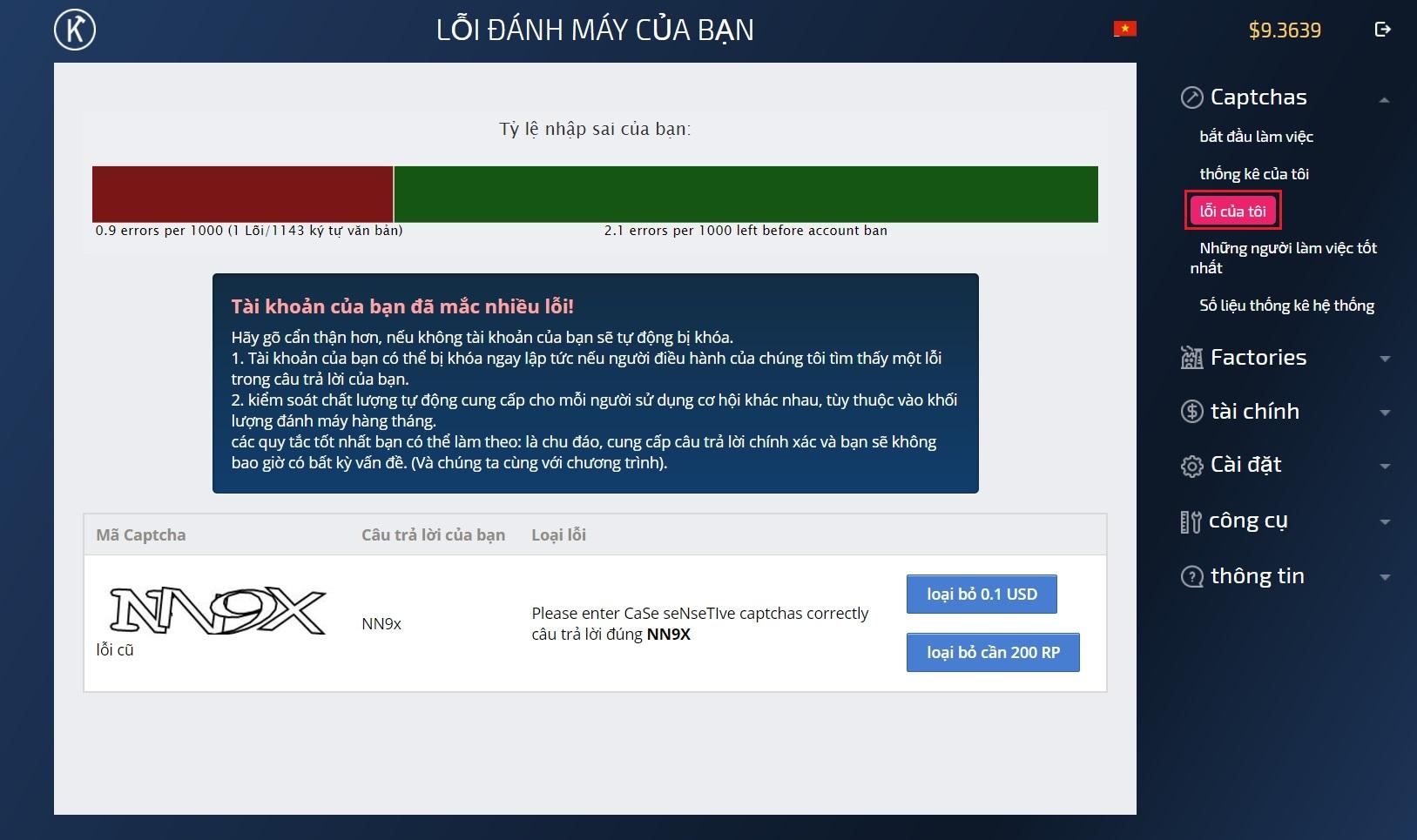 lỗi nhập mã kiếm tiền với kolotibablo