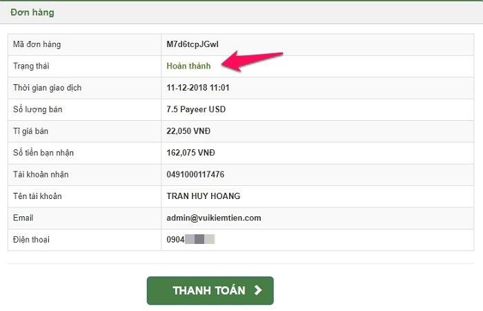Rút tiền từ ví điện tử Payeer về tài khoản ngân hàng Việt Nam