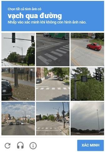 Mã recaptcha chọn hình ảnh của Google