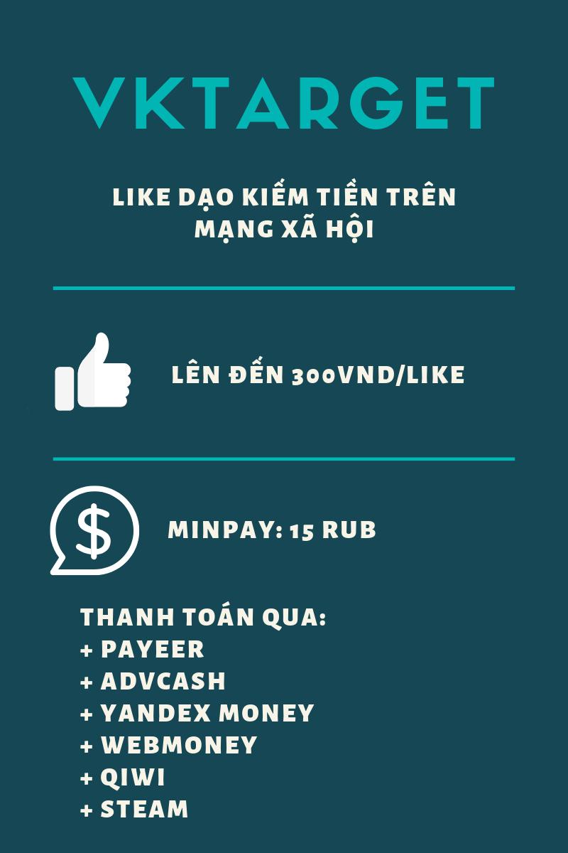 Vktarget - Like dạo kiếm tiền infographic