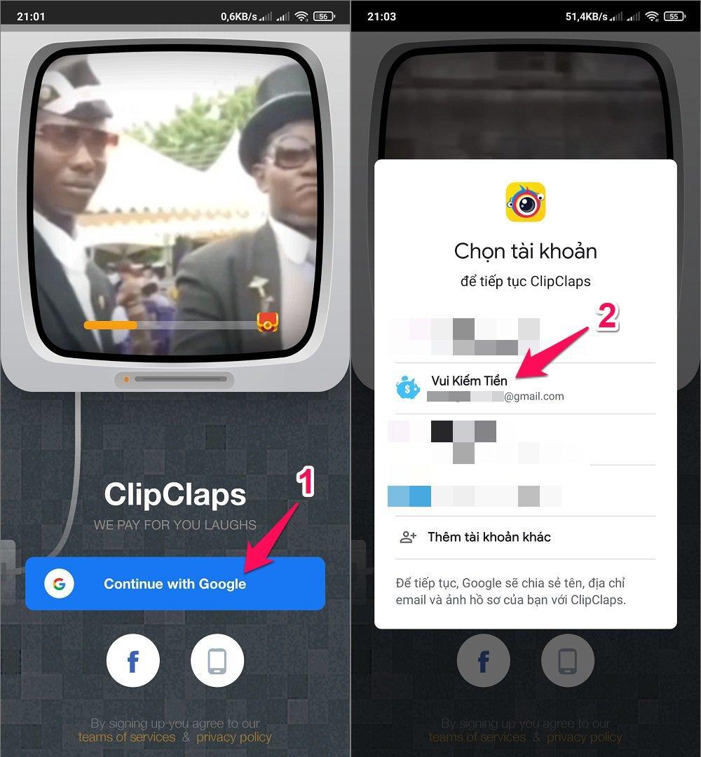 Hướng dẫn đăng ký tài khoản ClipClaps